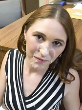 Petite office cutie gets a facial